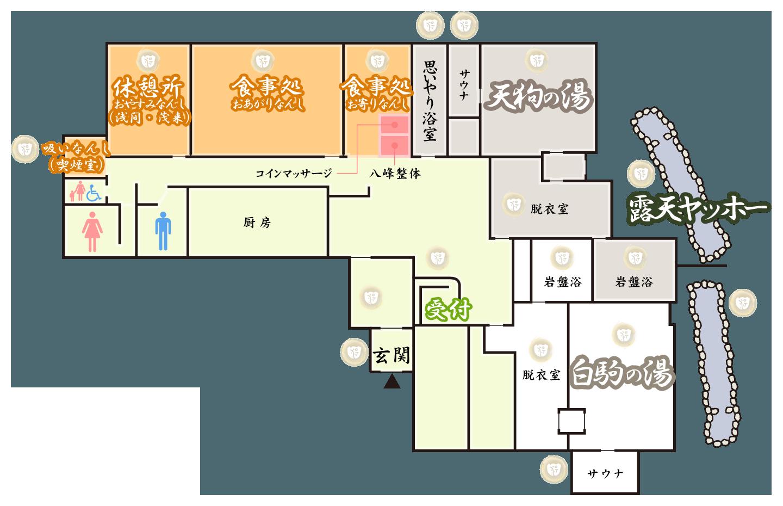 北八ヶ岳松原湖温泉「八峰の湯」施設総合案内 イメージマップ